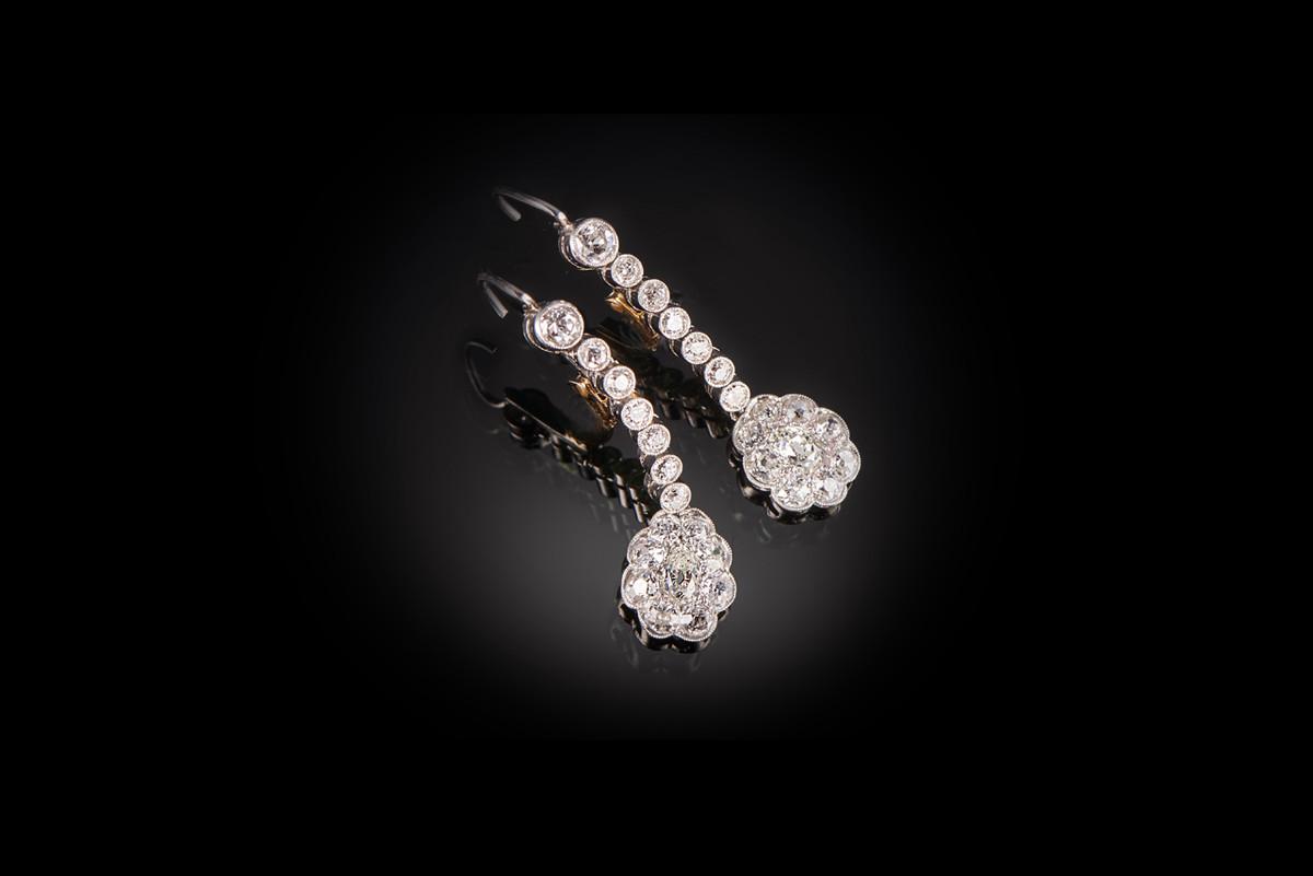 Stunning Flower Cluster Diamond Drop Earrings