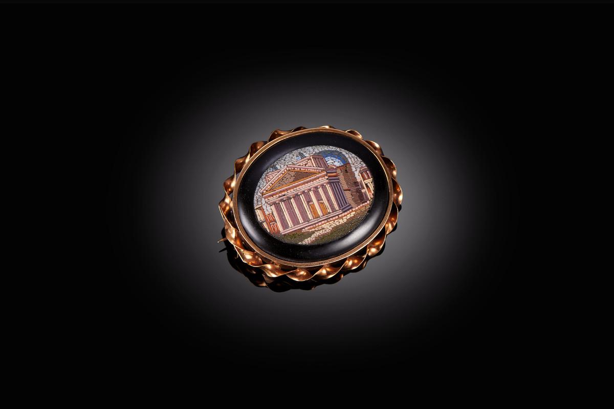 Classical Antique Micro Mosaic Brooch