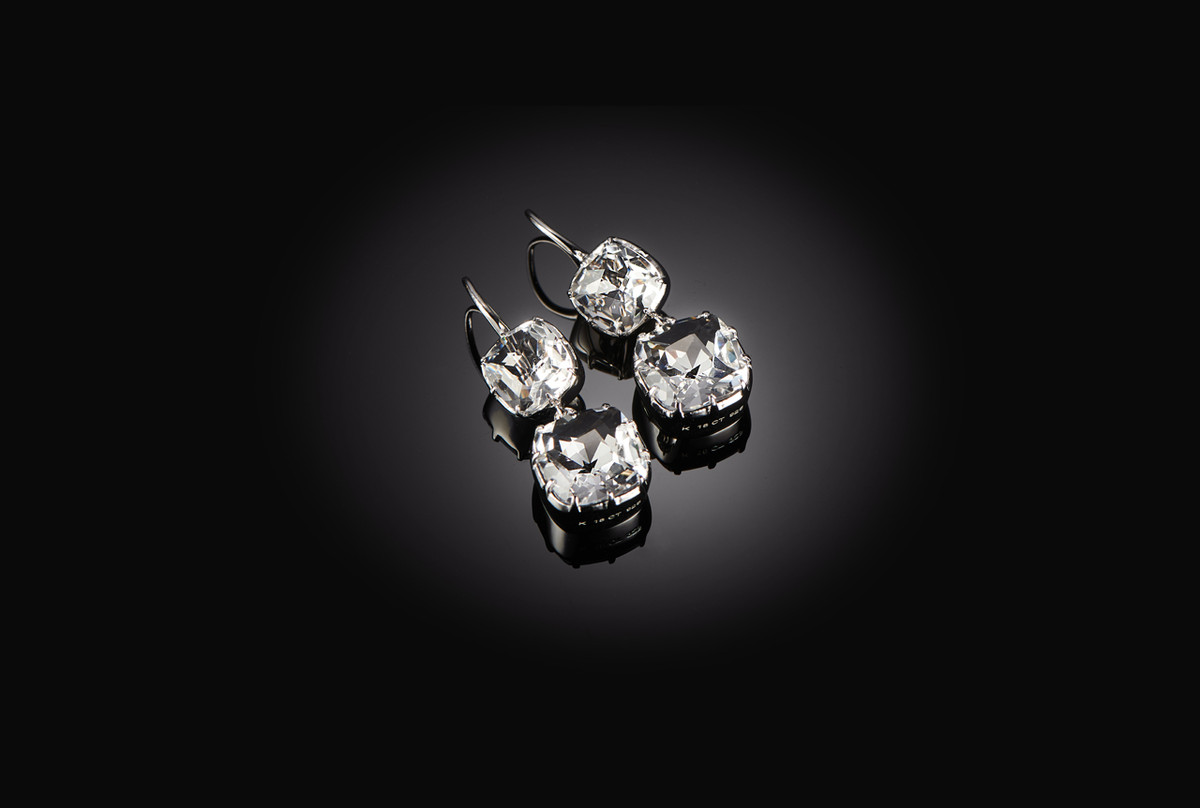 Kozminsky Double Drop Rock Crystal Drop Earrings. Sterling Silver