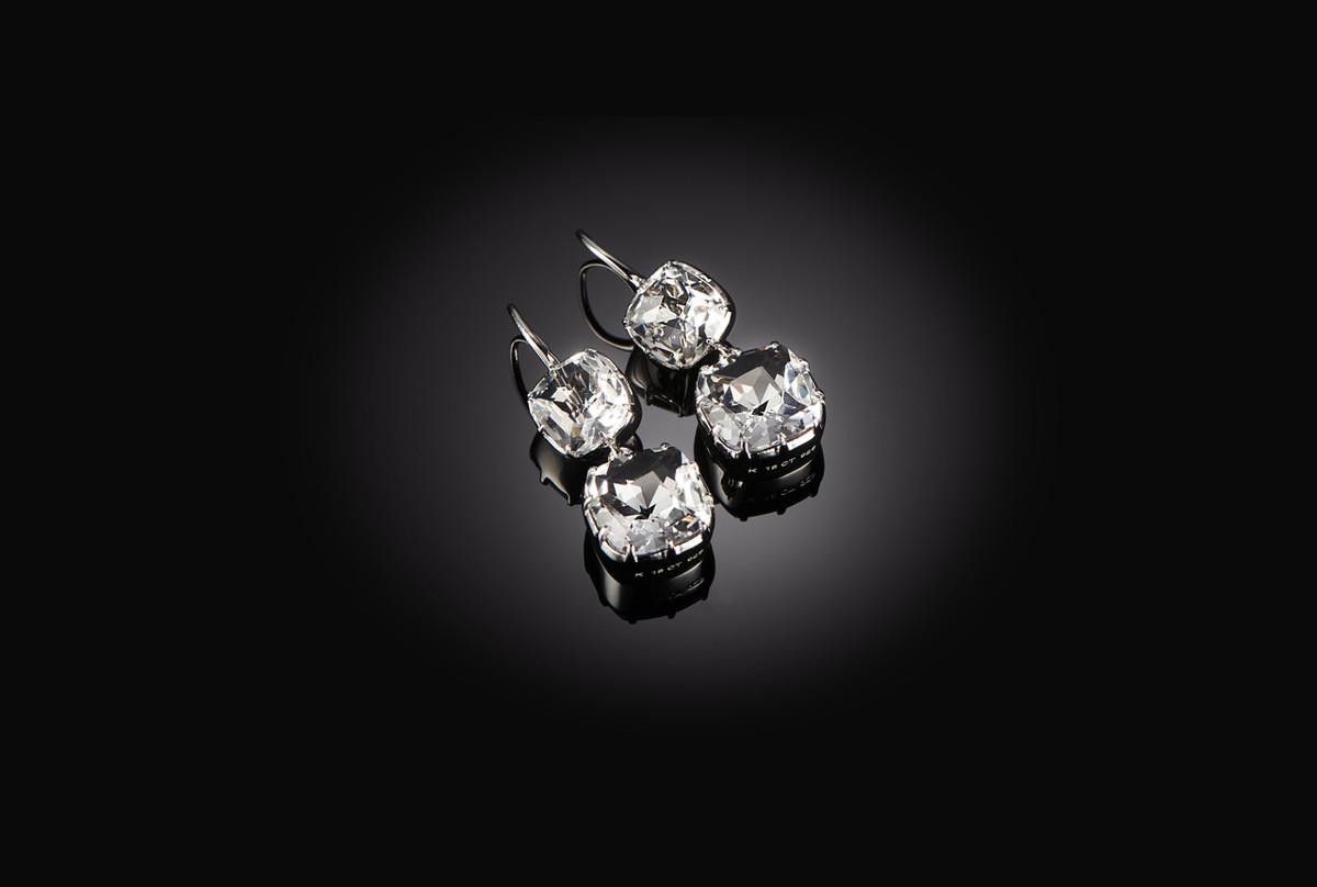 Kozminsky Double Drop Rock Crystal Drop Earrings. Sterling Silver