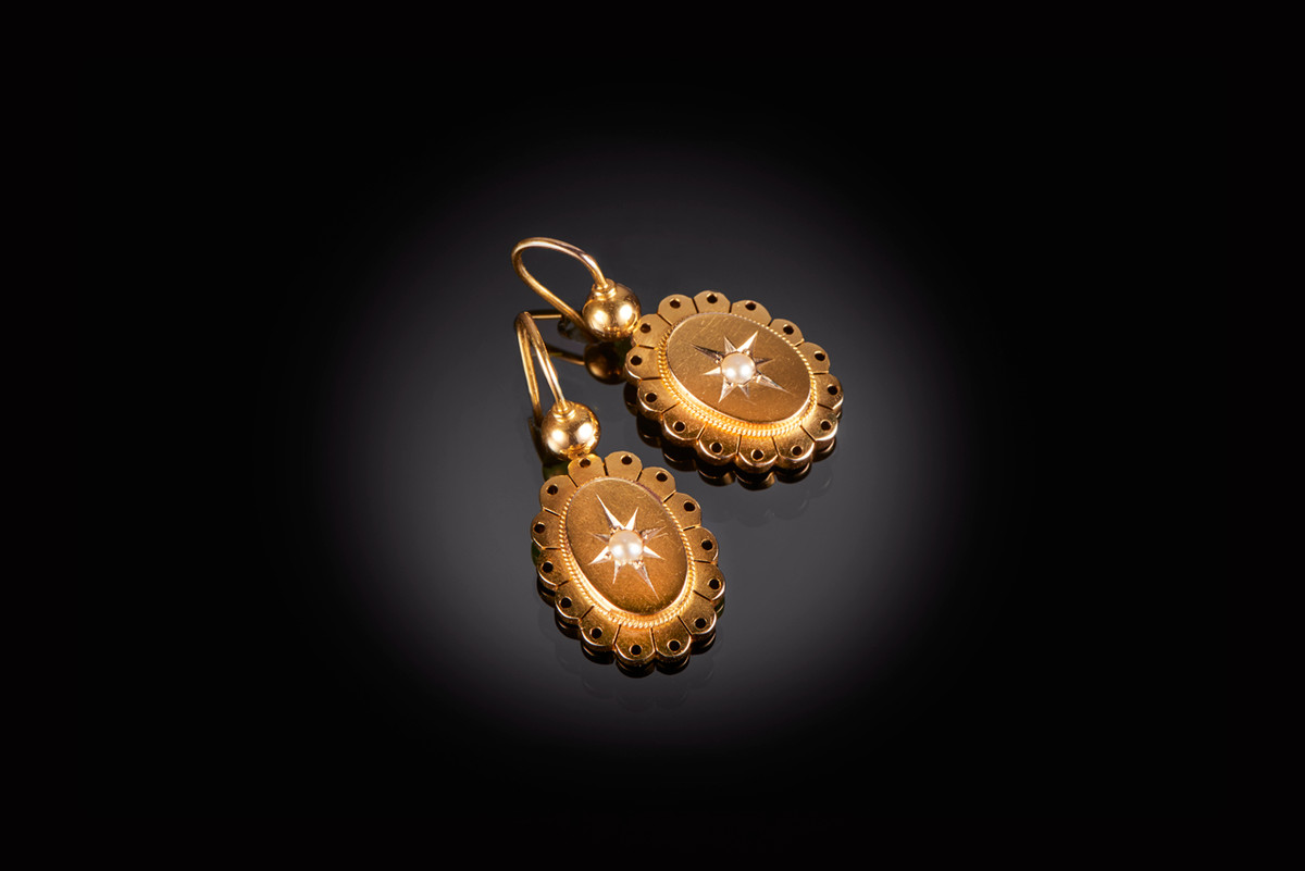 Antique Gold and Pearl Drop Earrings