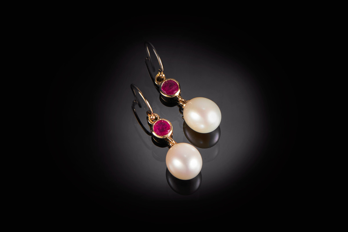 A Dainty Pair of Freshwater Pearl and Ruby Drop Earrings