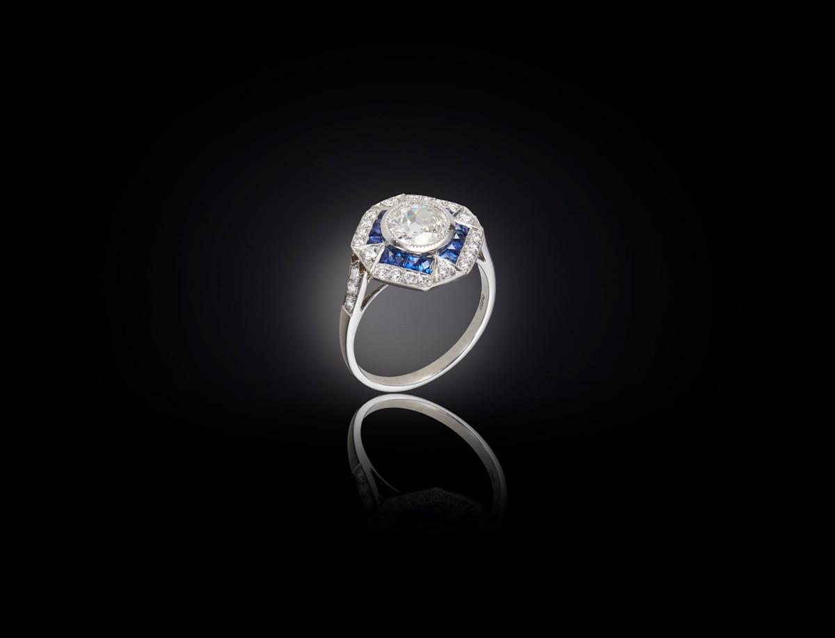 A Wonderful Art Deco Style Diamond and Sapphire Ring