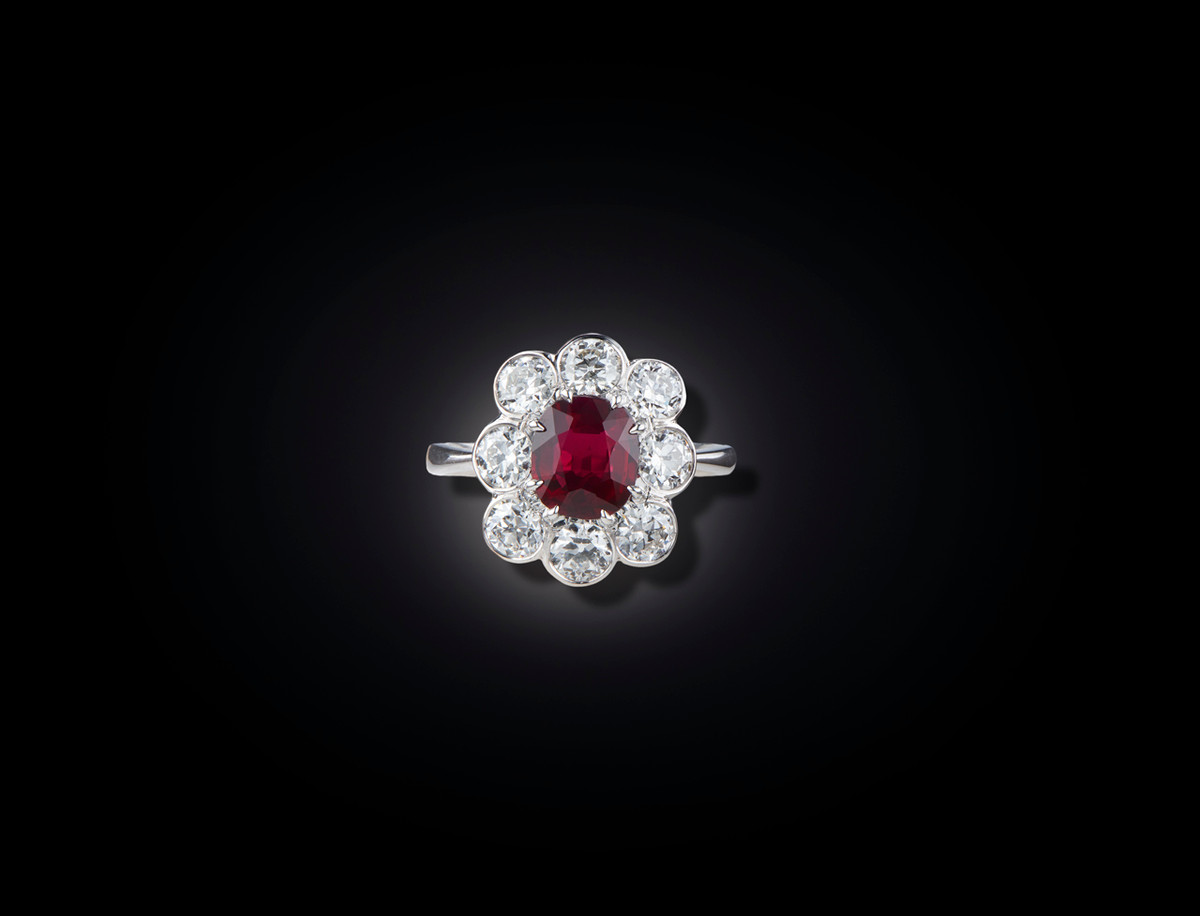 An Elegant Ruby and Diamond Cluster Ring