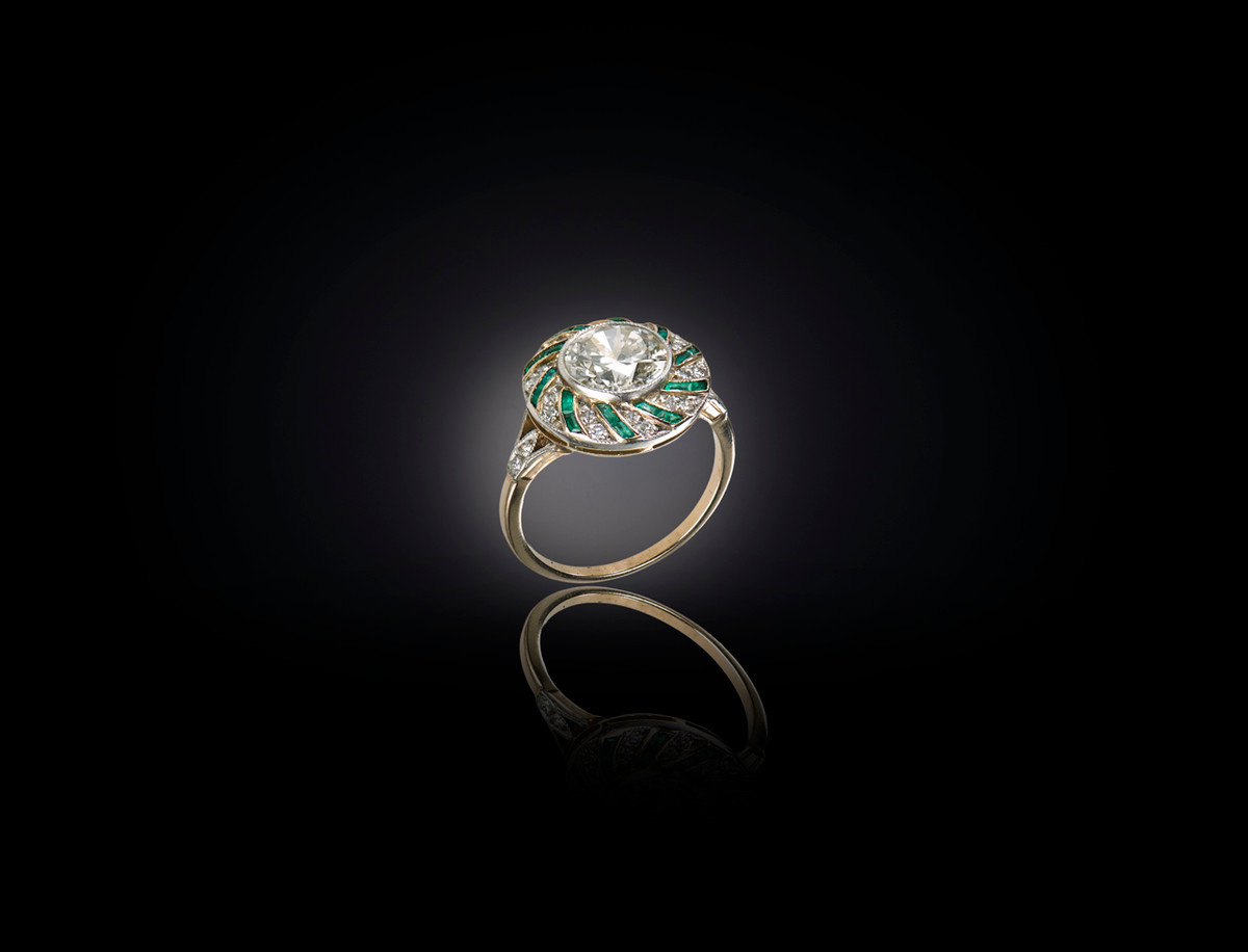 Art Deco Diamond and Emerald Ring