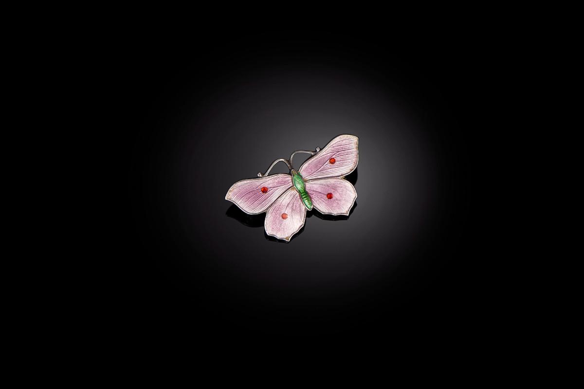 A Pretty Sterling Silver and Enamel Butterfly Brooch