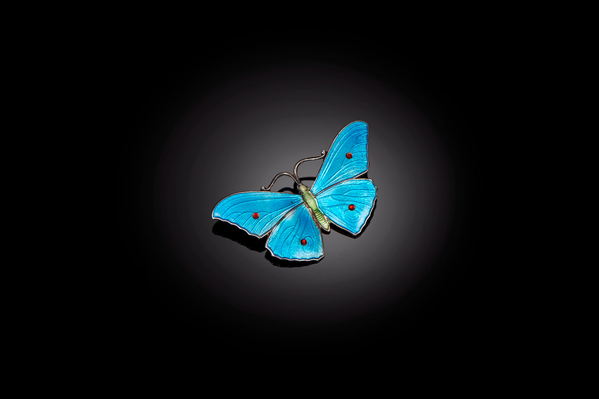Sterling Silver and Blue Enamel Butterfly Brooch