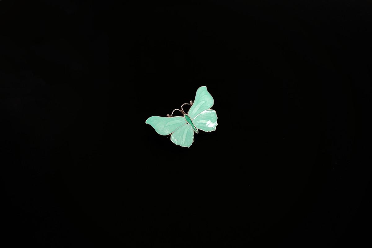 A Sweet Enamel Butterfly Brooch in Pastel Green