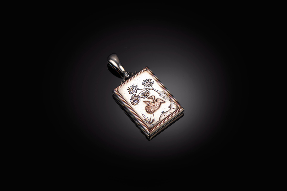 Aesthetic Movement Silver Locket with Crane and Tree