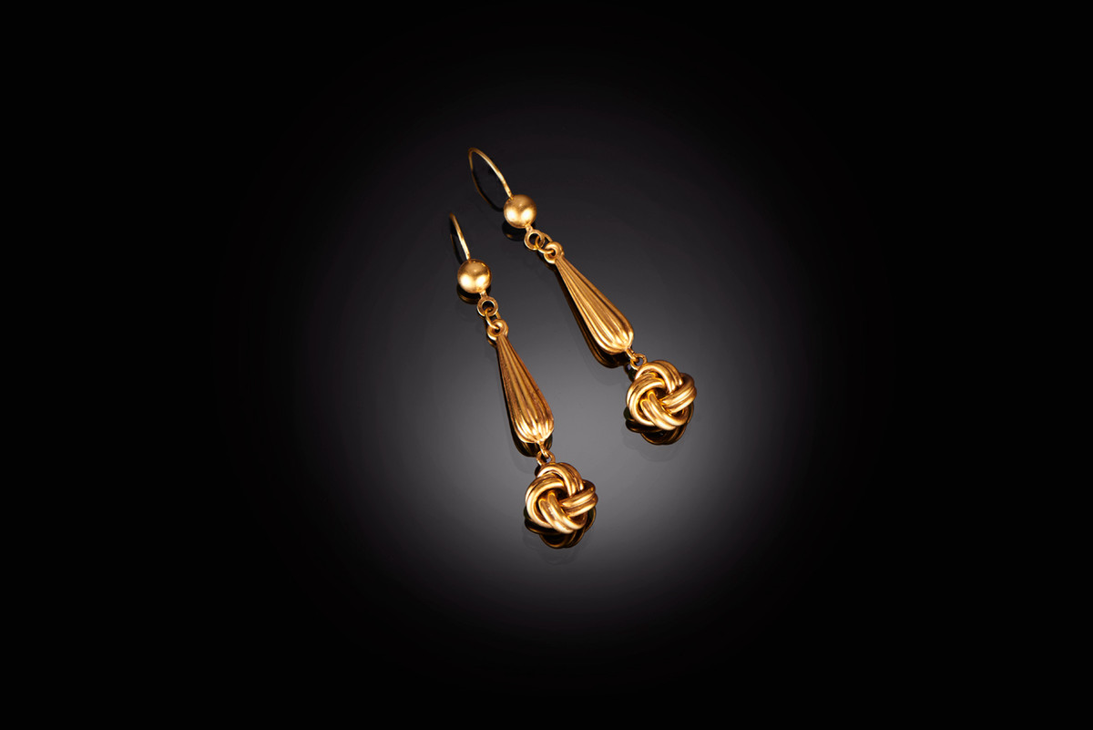 An Elegant Pair of Gold Drop Earrings