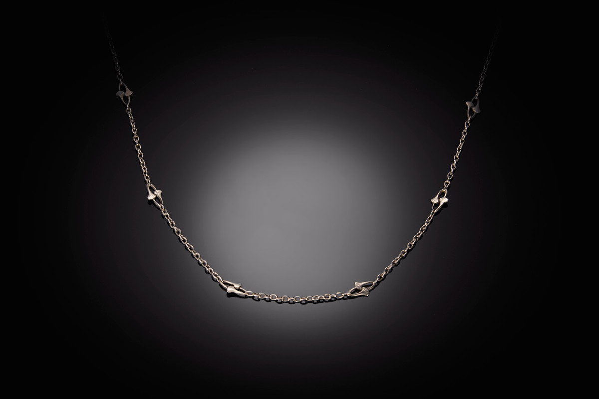 Antique French Silver Guard Chain with ginko leaf design.