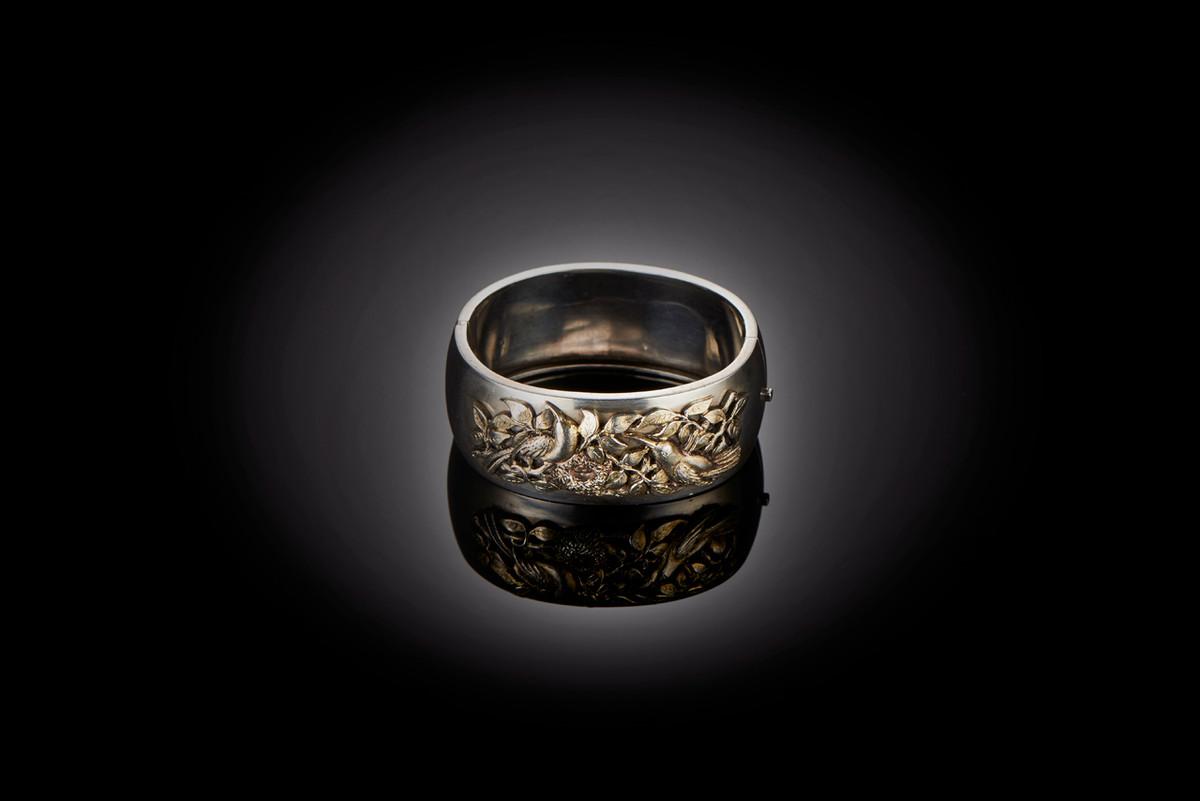 Victorian Silver Cuff Bangle with Nature Scene
