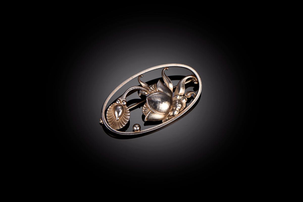 Georg Jensen Sterling Silver Brooch Art Nouveau Style