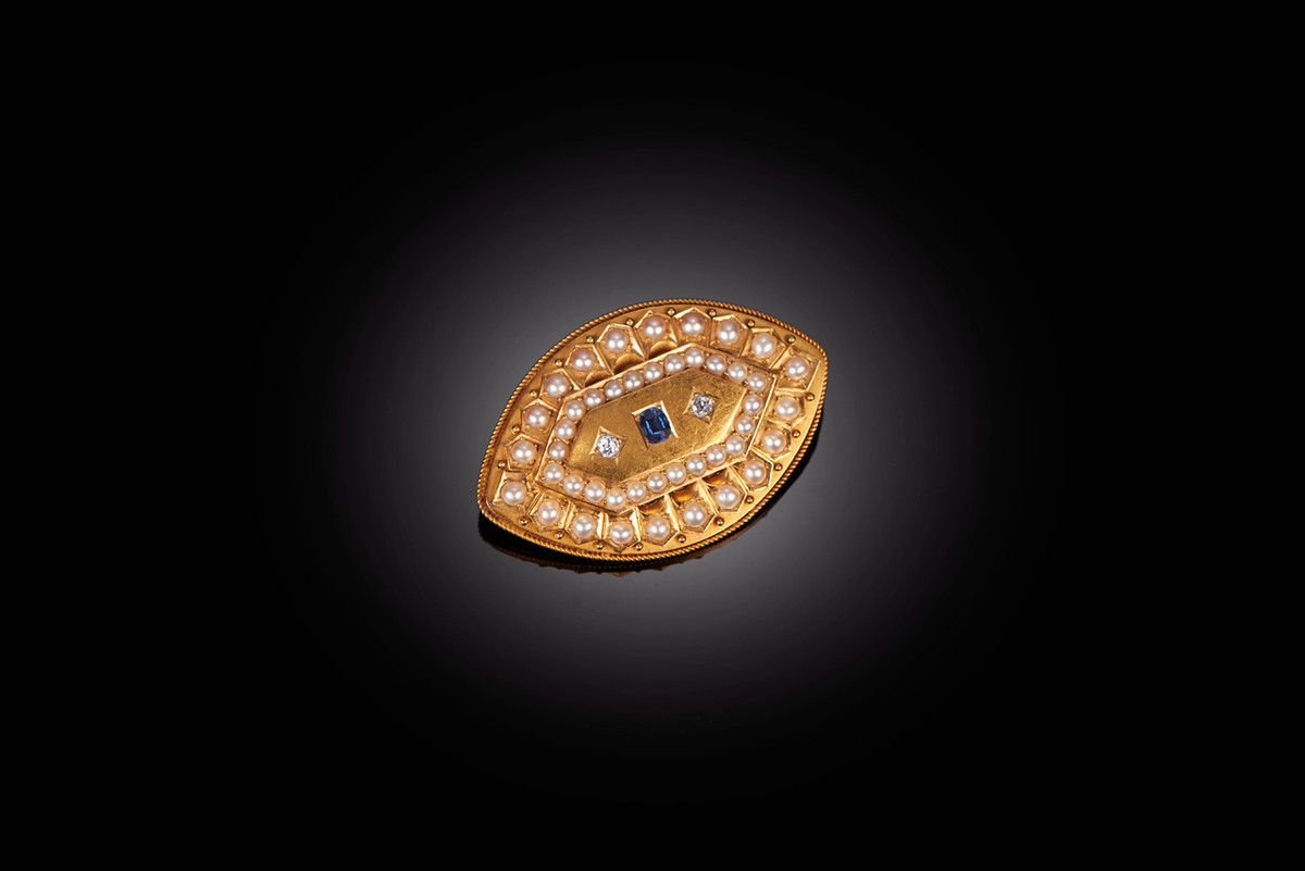 Gold, Pearl, Diamond and Sapphire Brooch