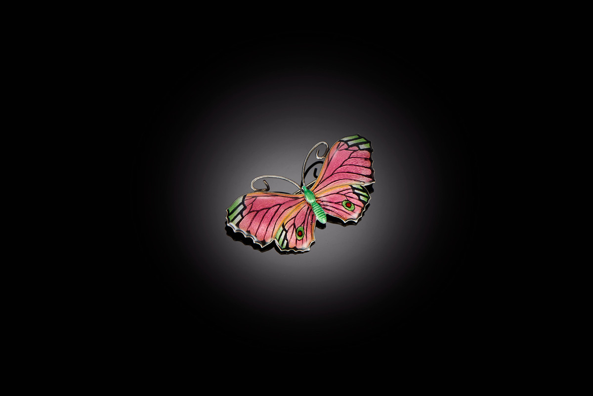 Silver and Enamel Butterfly Brooch in Pink, Green and Black
