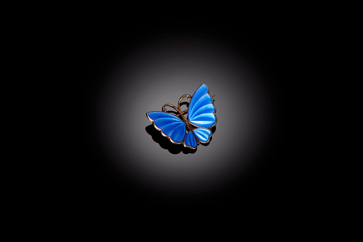 A Royal Blue Enamel Butterfly Brooch