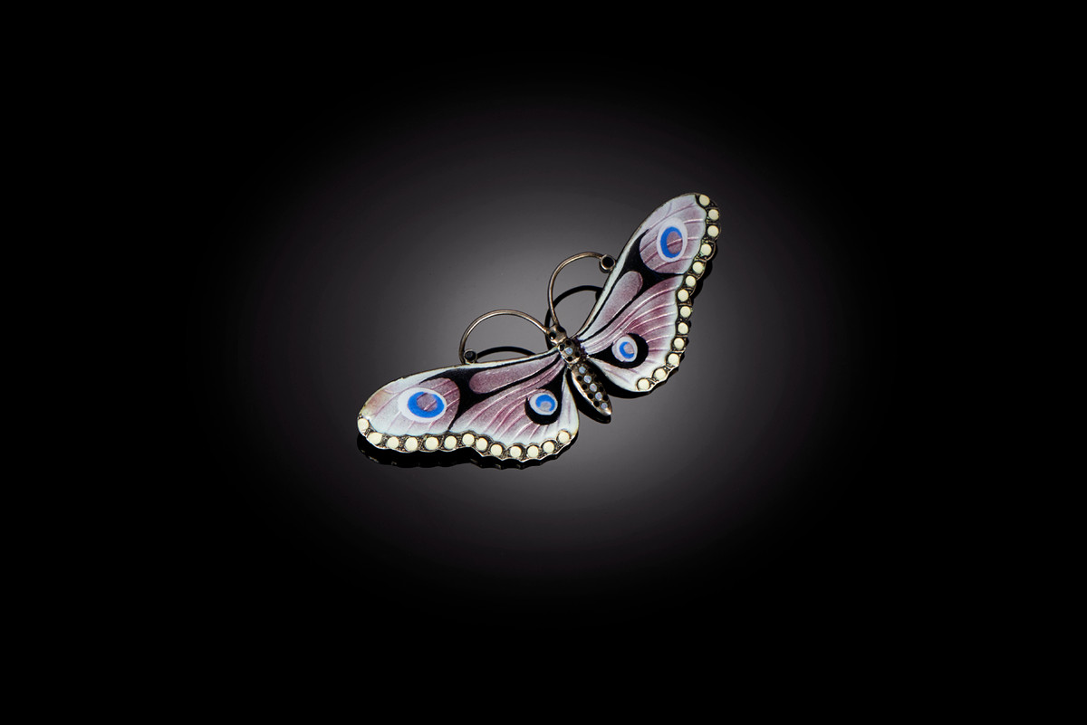 A Classic Silver and Enamel Butterfly Brooch