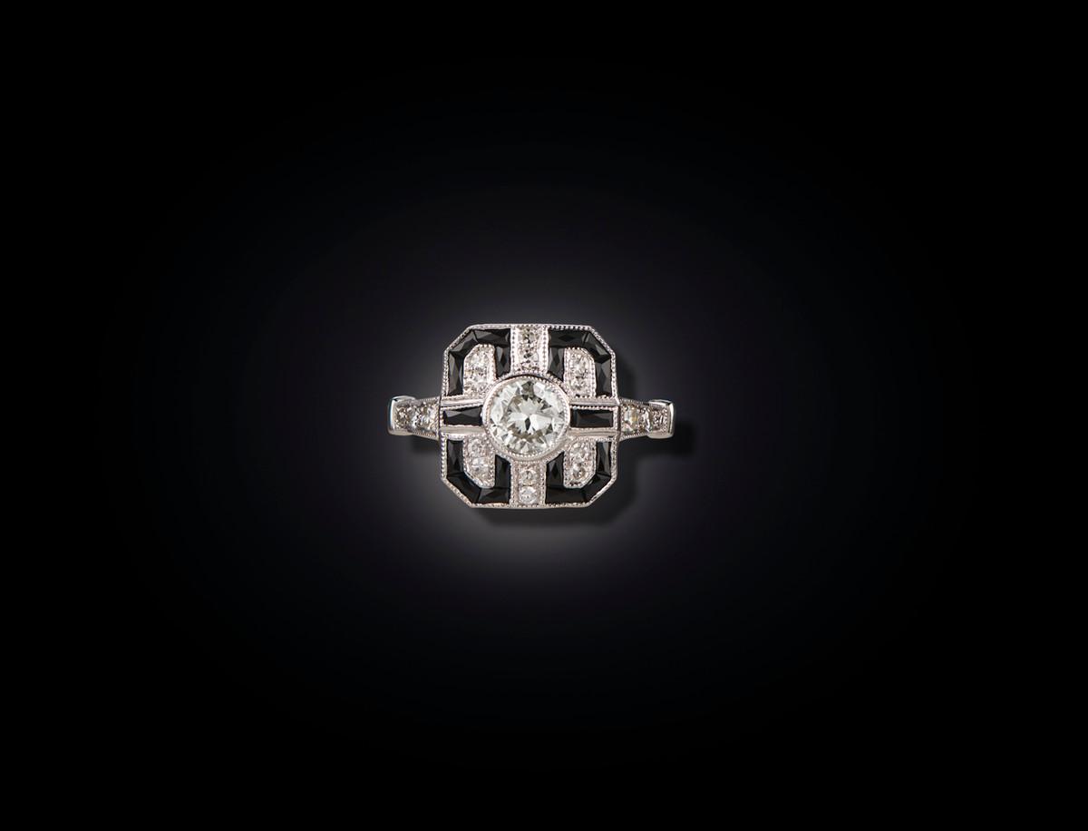 Diamond and Onyx Ring, Art Deco Style