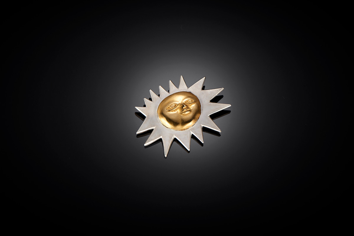 Mirka by Kozminsky Sun Brooch in silver and silver gilt