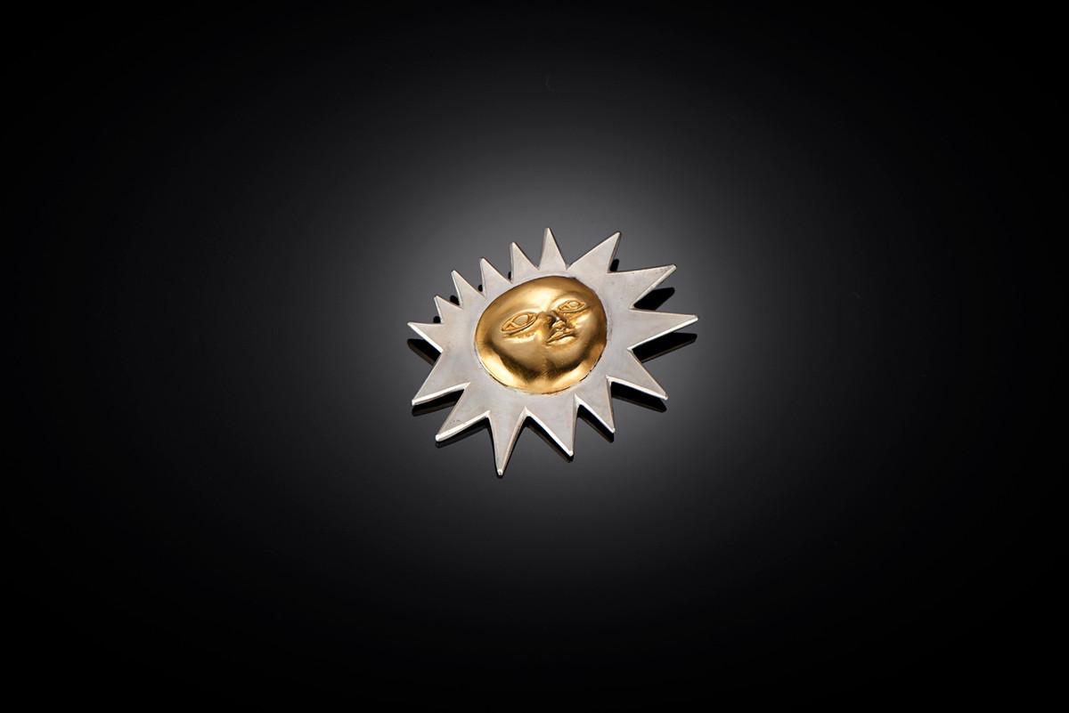 Mirka by Kozminsky Sun Brooch in silver and silver gilt