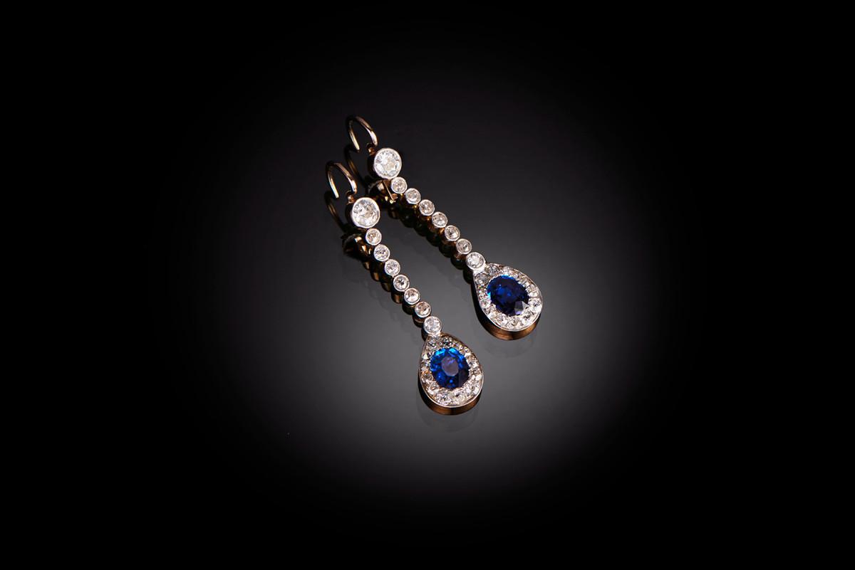 Sapphire and Diamond Drop Earrings