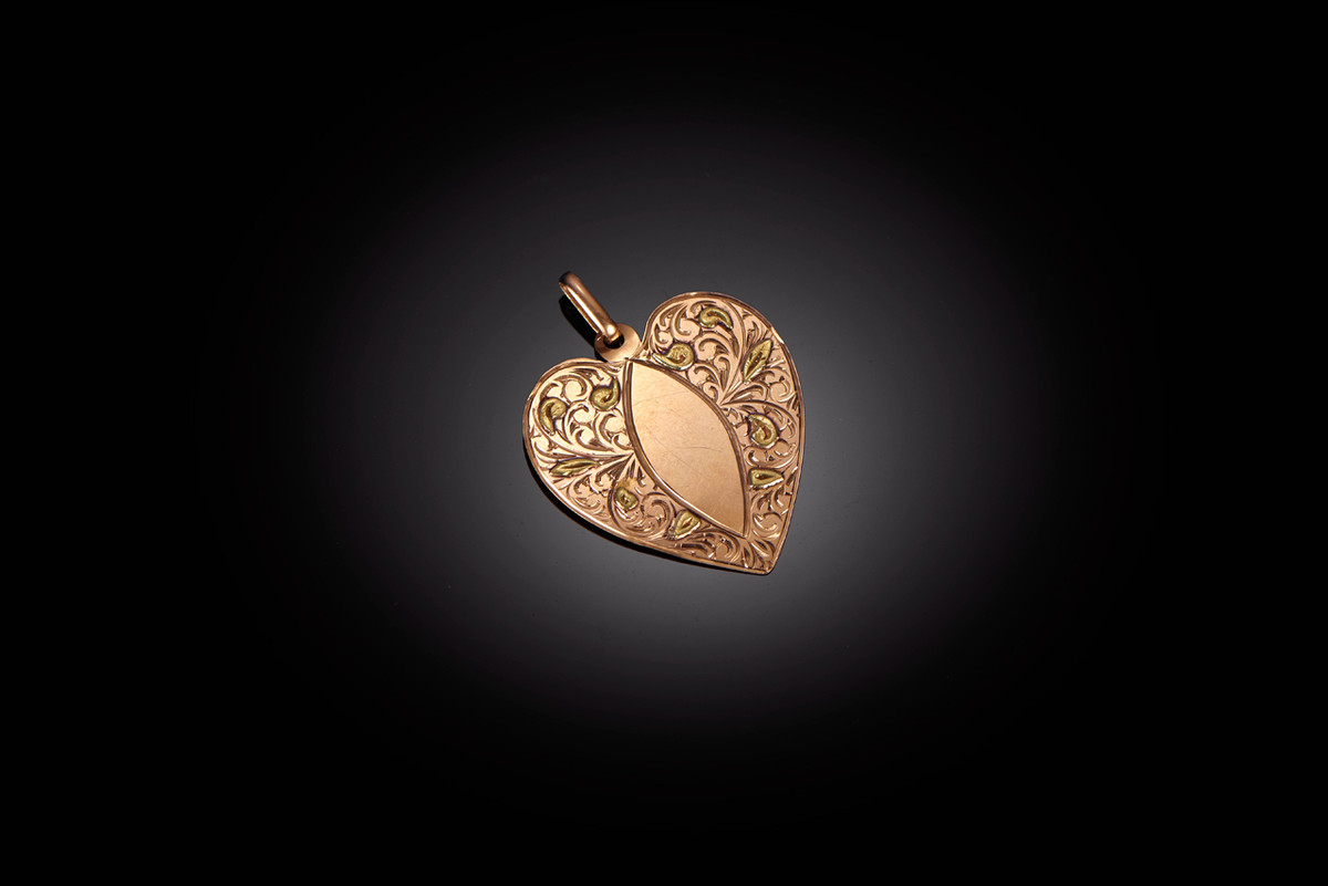 A Heart Shapped French Gold Pendant