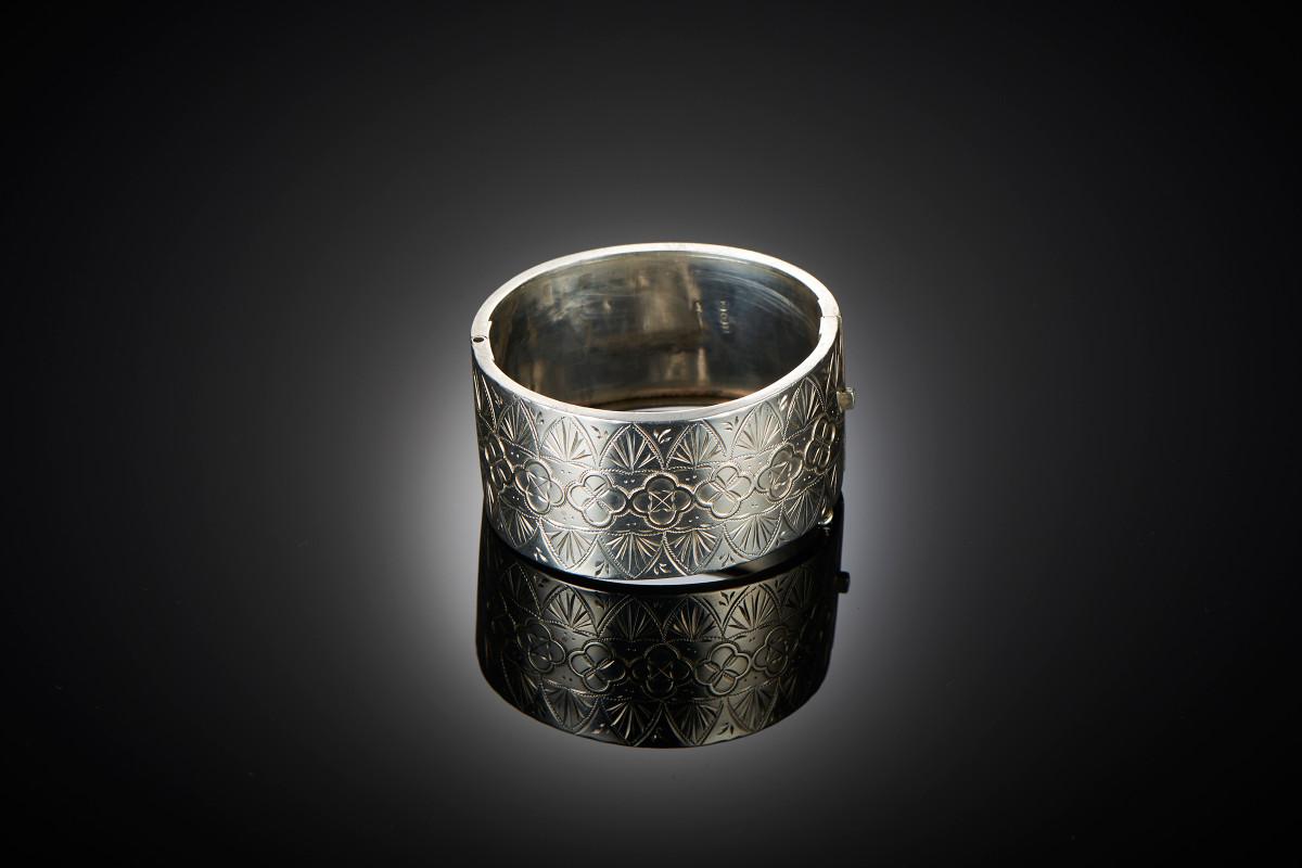 Victorian Sterling Silver wide cuff bangle