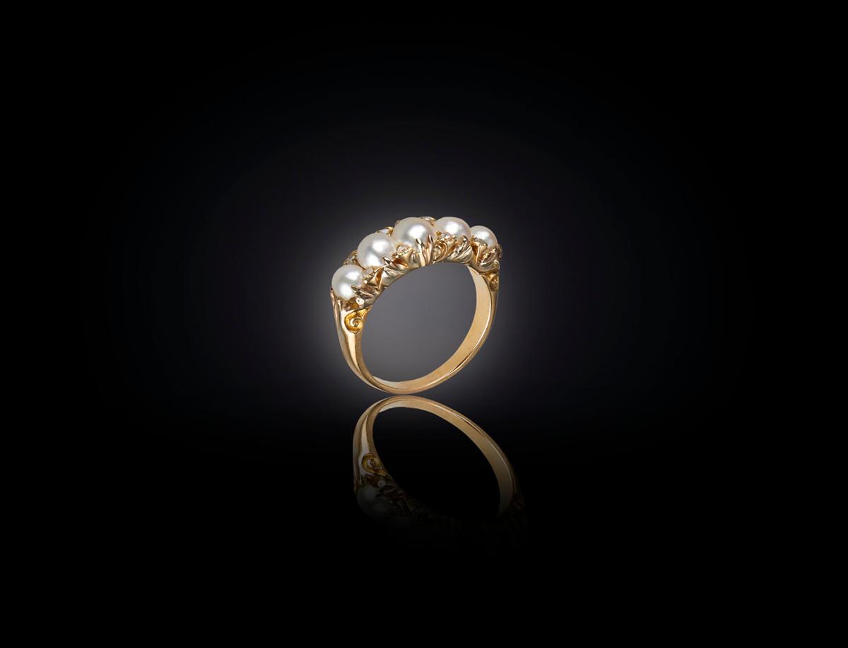 Victorian half hoop Pearl and Diamond Ring