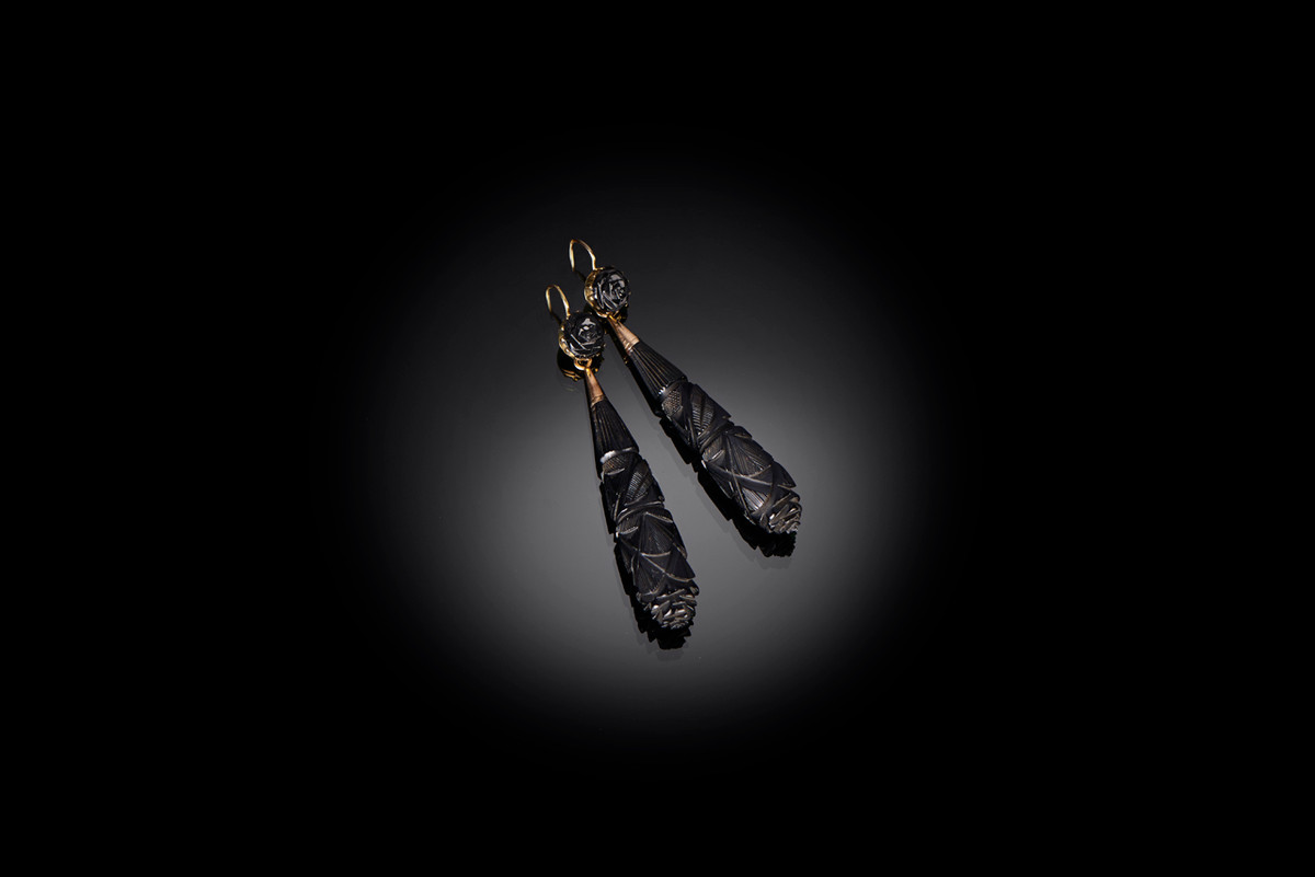 Jet Earrings with carved elongated form