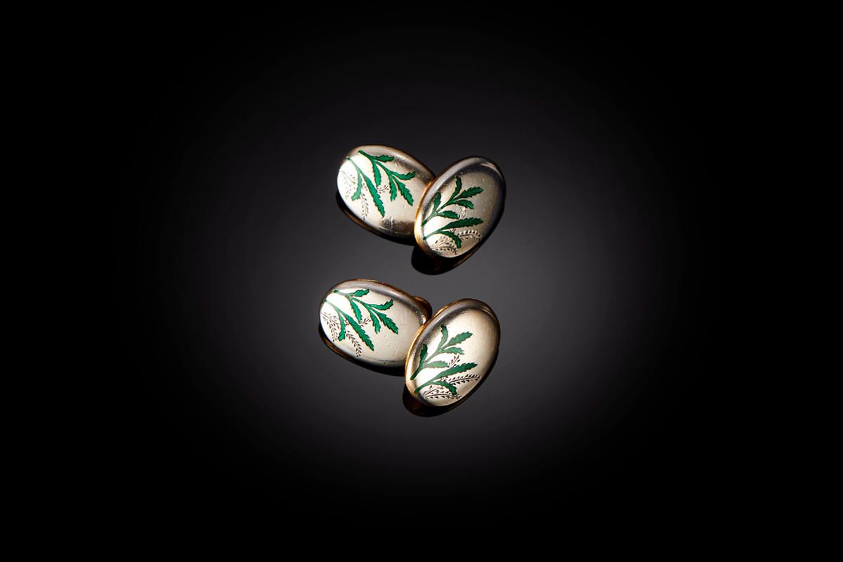 Victorian sterling silver and green enamel cufflinks