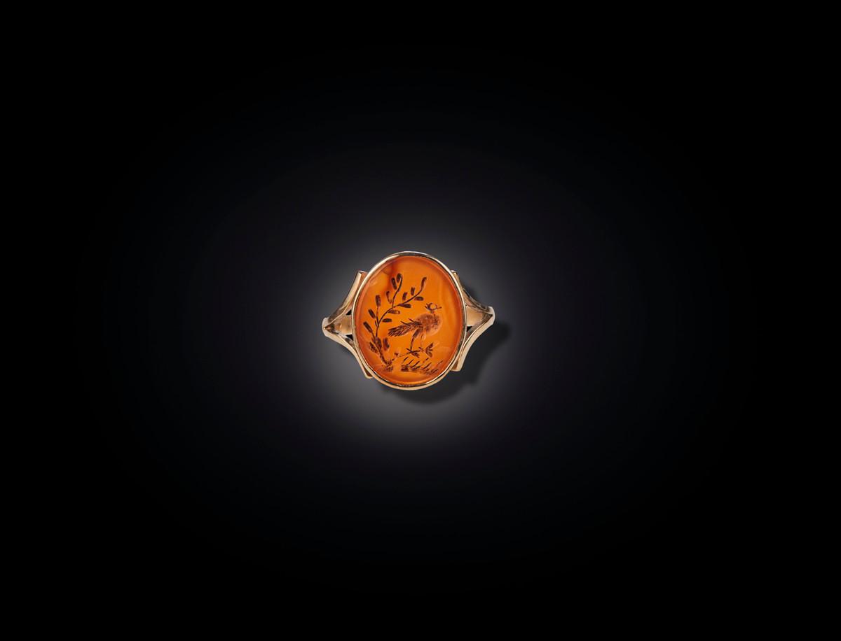 A Divine Carnelian Intaglio Ring