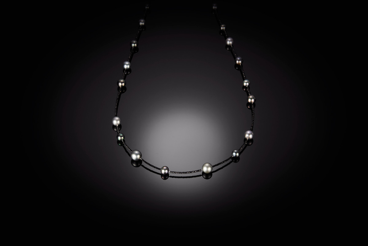 Tahitian multi colour pearls and black spinel necklace.