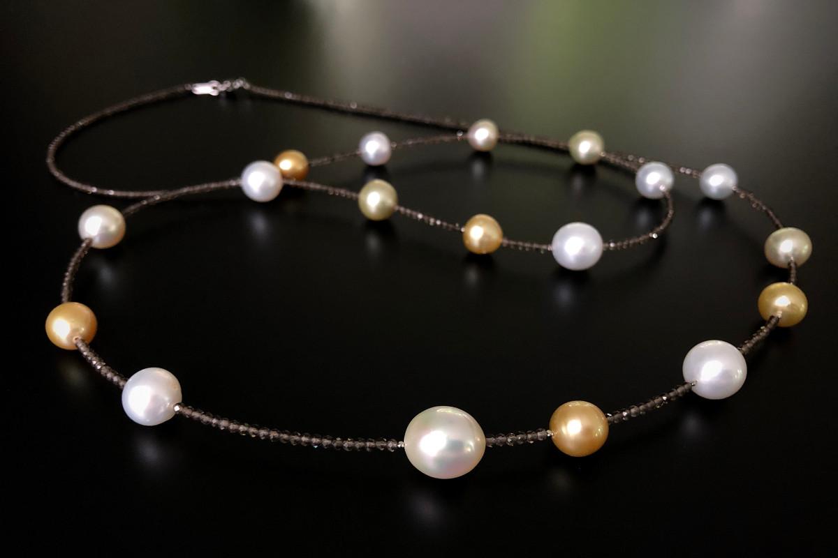 South Sea multi colour pearls and smokey quartz necklace.