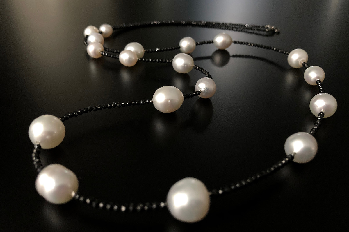 South Sea Pearls and Black Spinel Necklace.