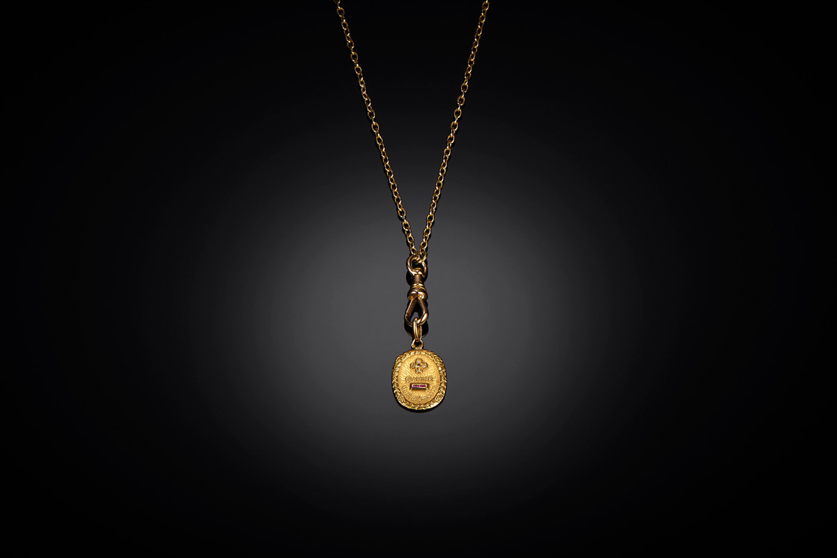 French Gold Pendant with Ruby and Chain