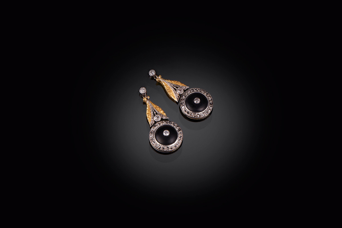 A Superb Pair of Onyx and Diamond Earrings