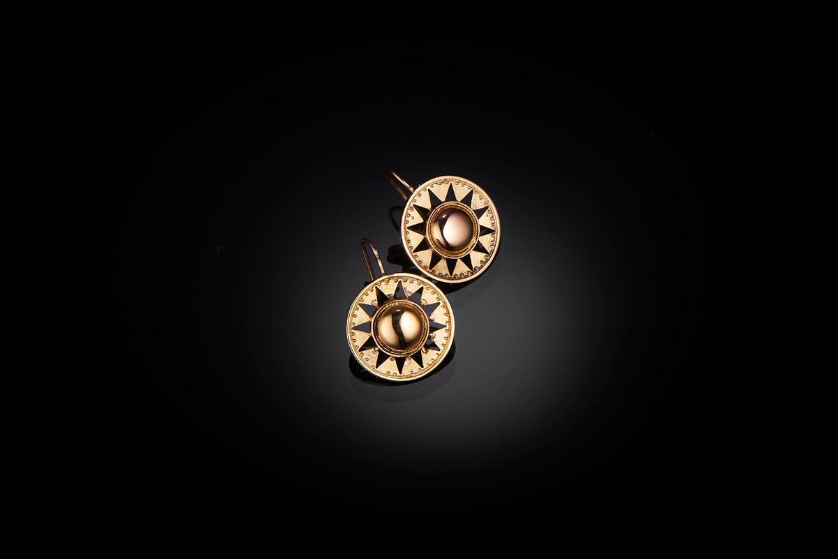 Victorian Gold Star Burst Earrings