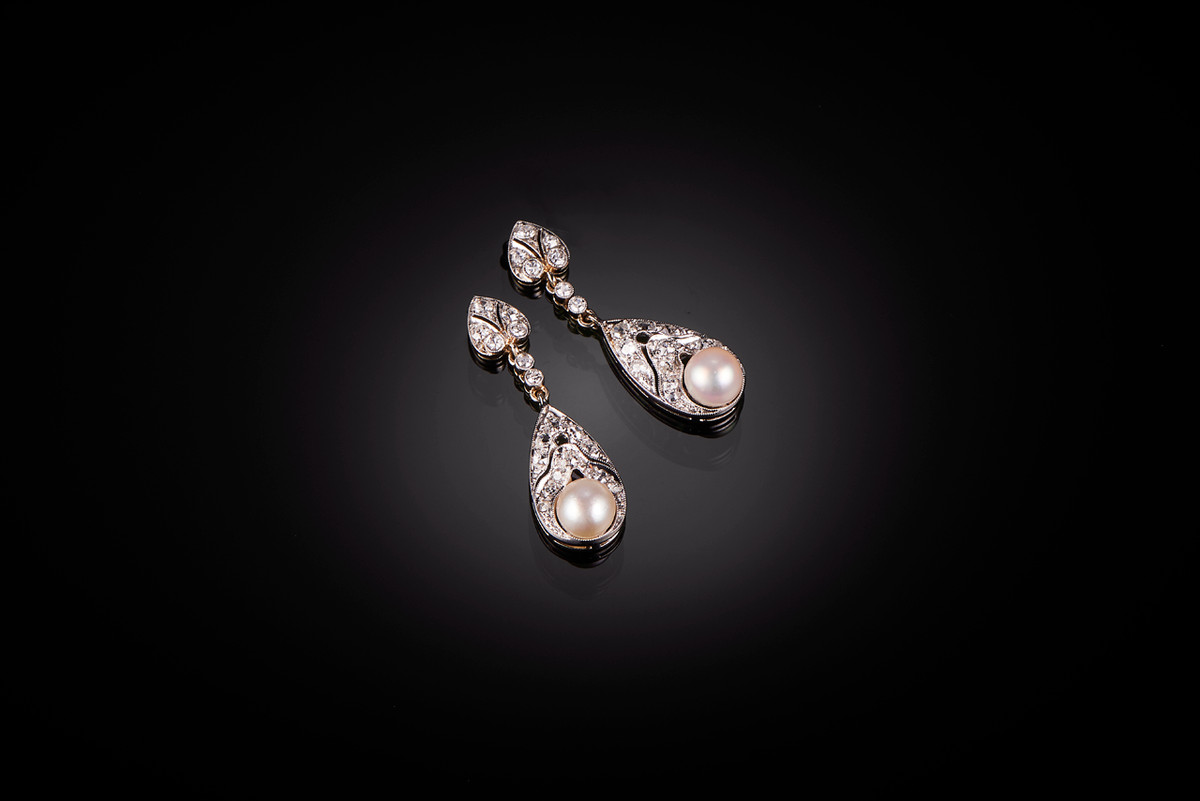 Belle Epoque Diamond and Pearl Earrings