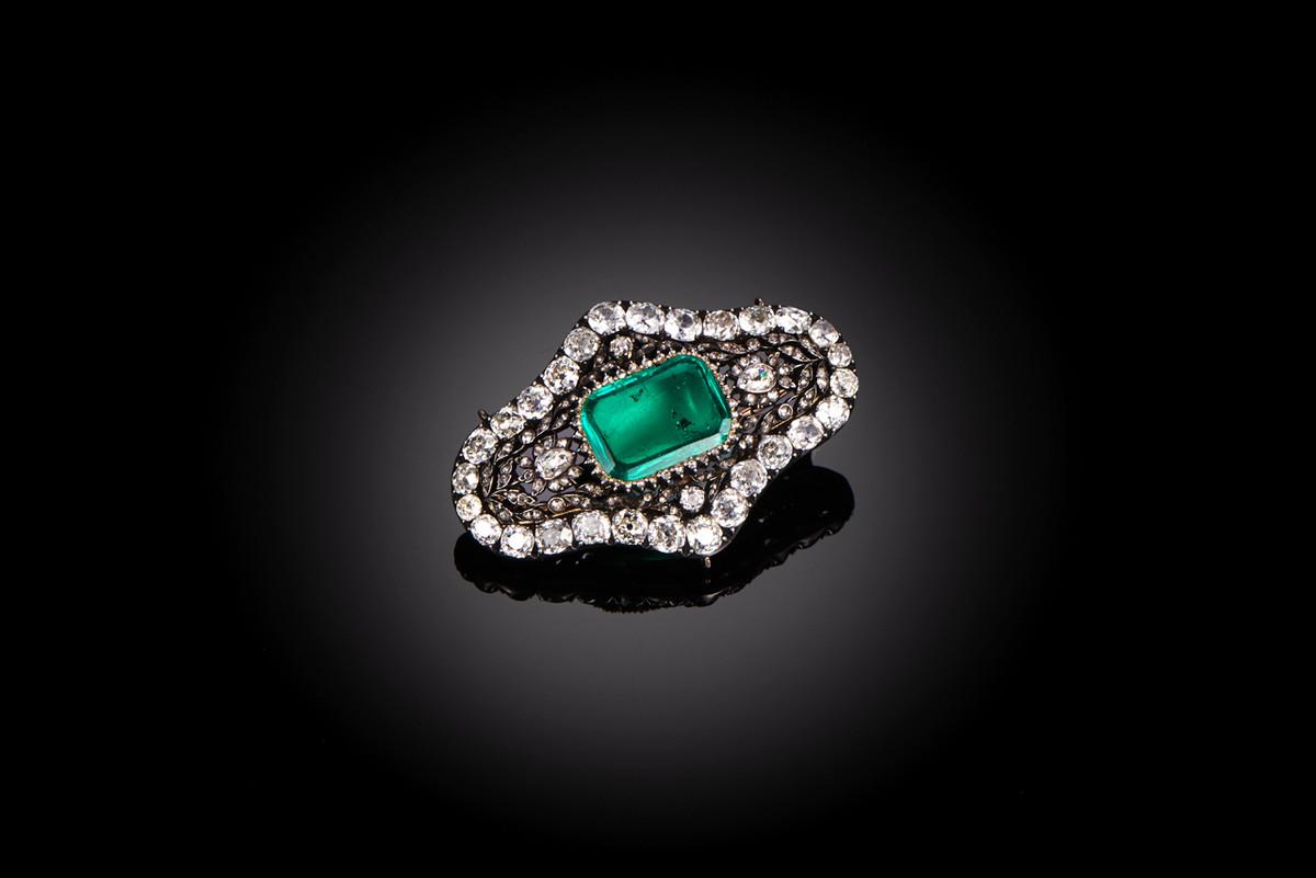 Rare Emerald and Diamond Brooch/Pendant