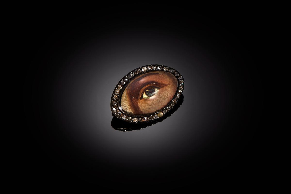 A Rare Enamel and Diamond Eye Brooch