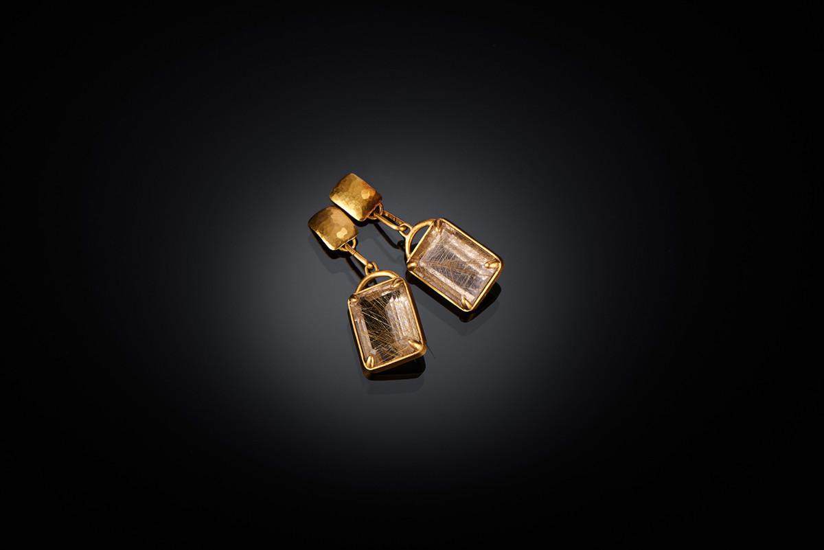 Emerald Cut Venus Rutile Quartz Earrings by Lisa Black