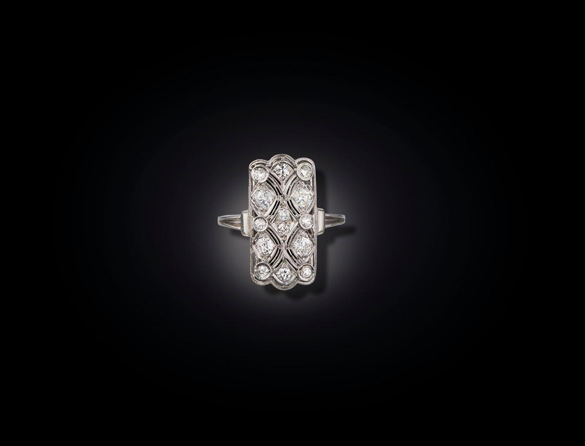 Art Deco Diamond Plaque Ring in Platinum