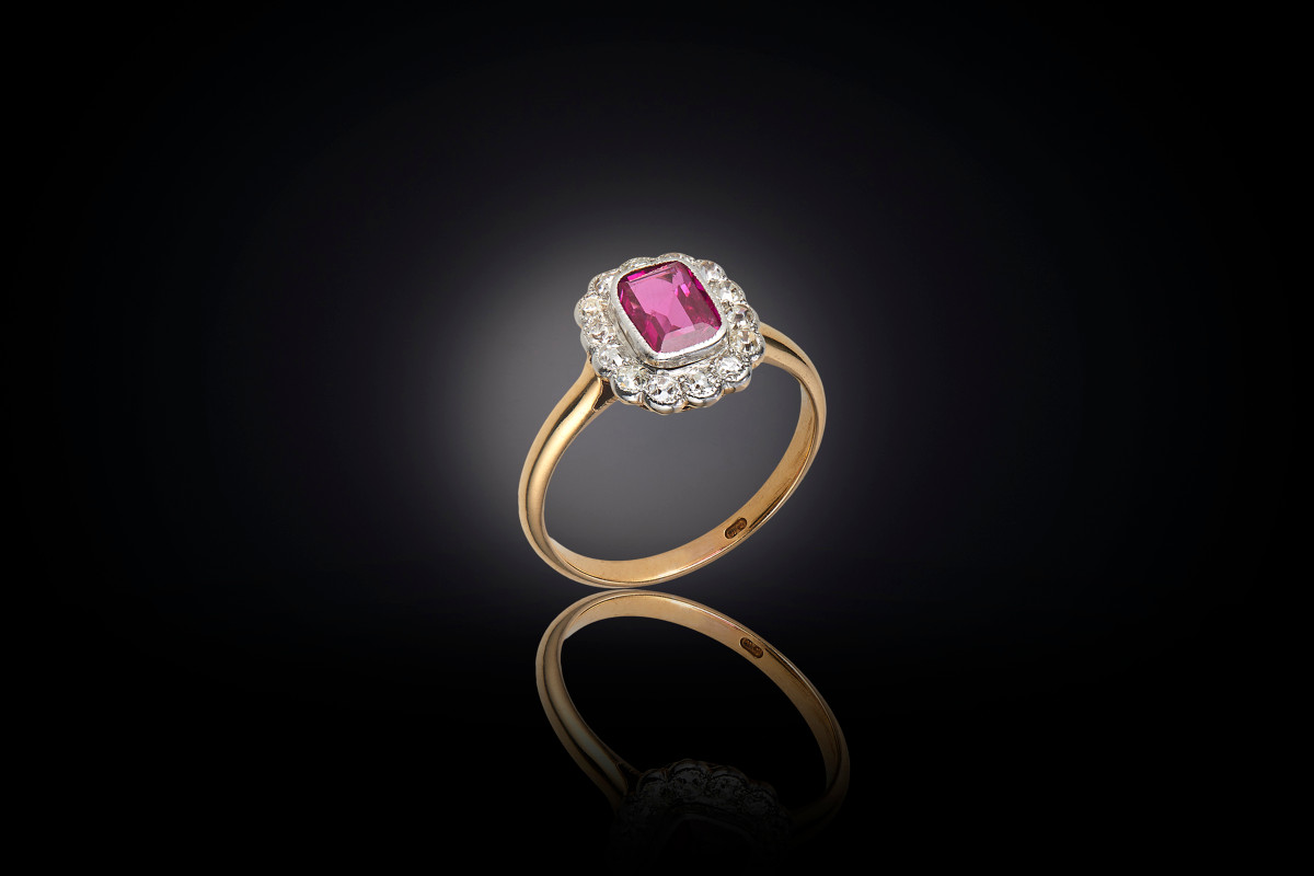 Ruby and diamond cluster ring.