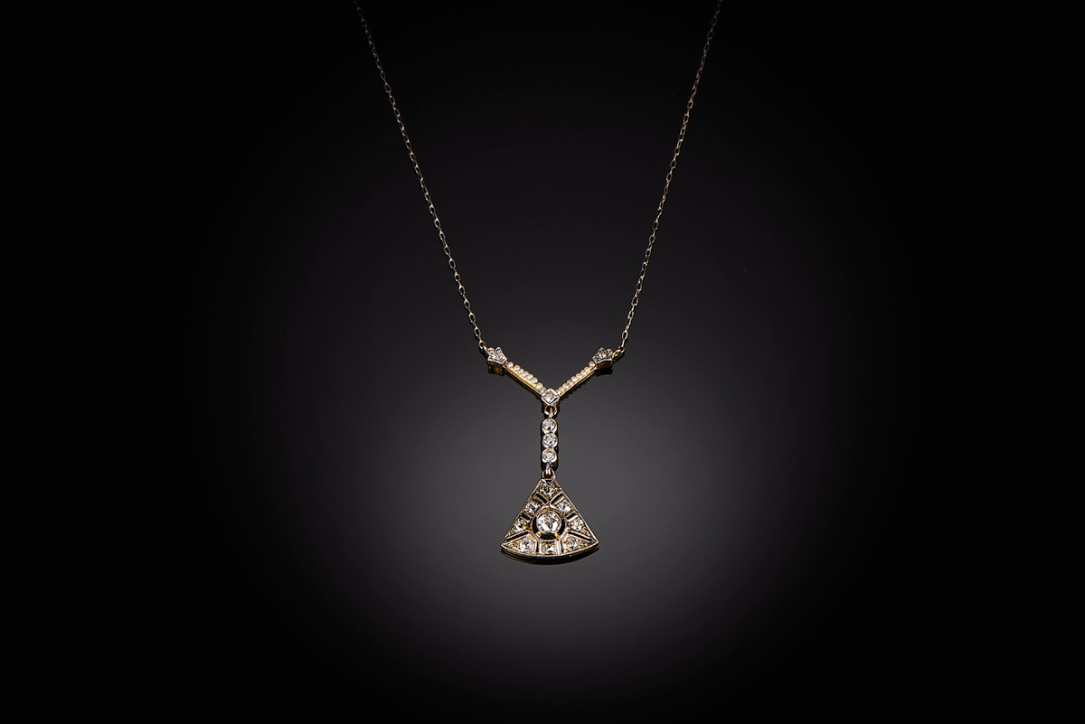 Belle Epoque Diamond and Pearl Pendant Necklace