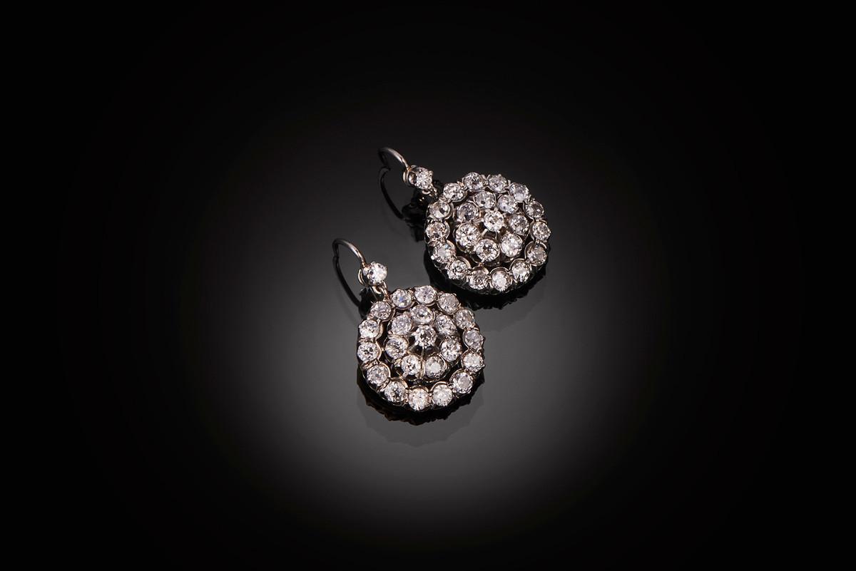Antique Diamond Cluster Earrings