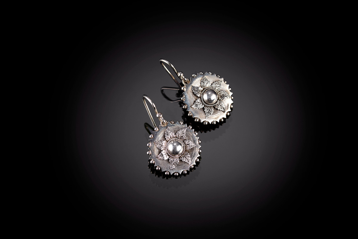 Victorian Flower Earrings in silver