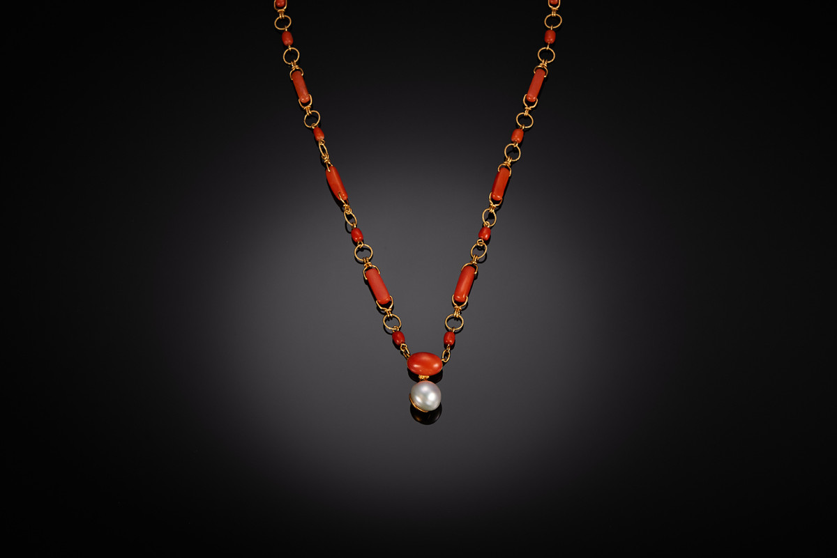 A Victorian Red Coral Necklace with South Sea Pearl Drop 22ct gold