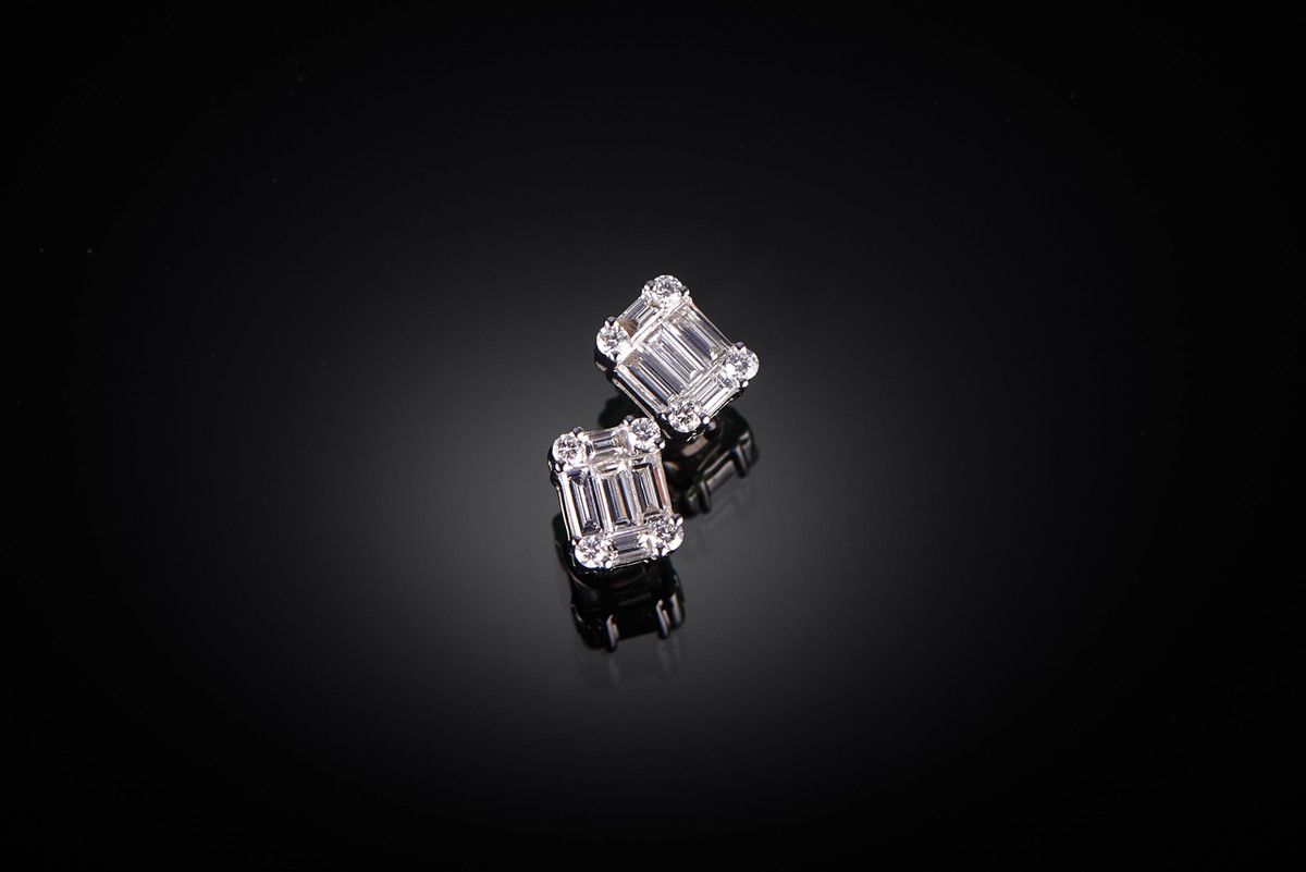 Baguette Diamond Cluster Stud Earrings (Large)