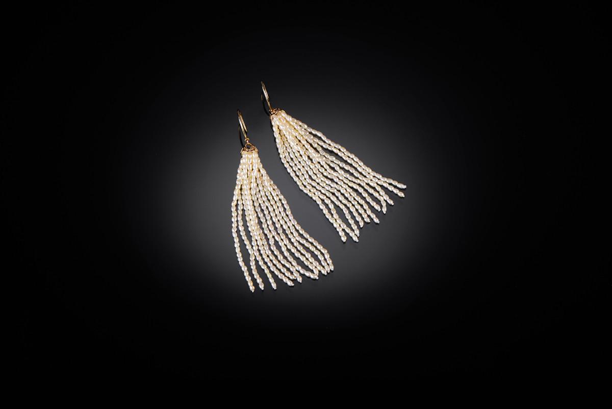Keshi Pearl Tassel Earrings