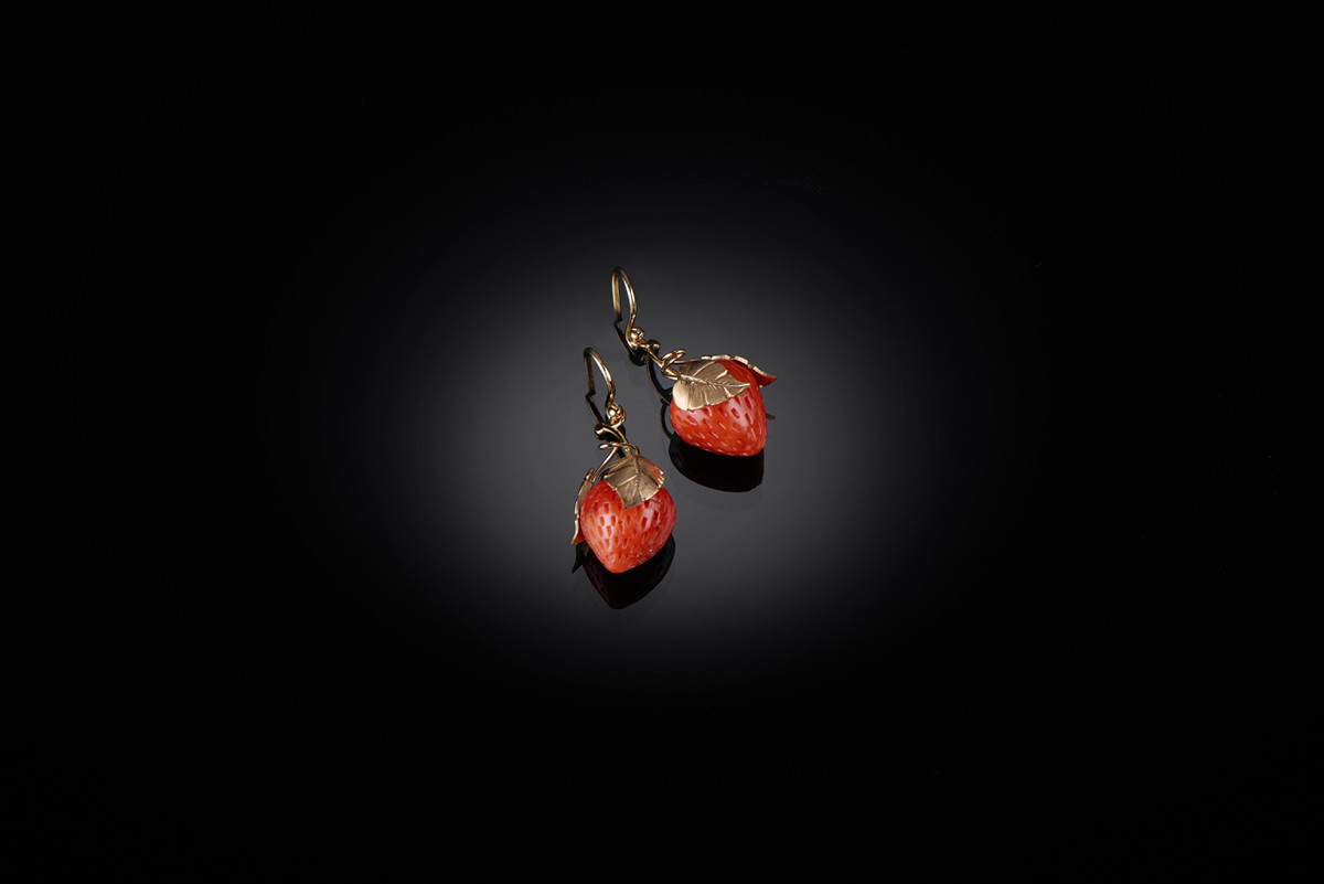 Strawberry Coral Earrings by Kozminsky overlaid with gold leaves and tendrils